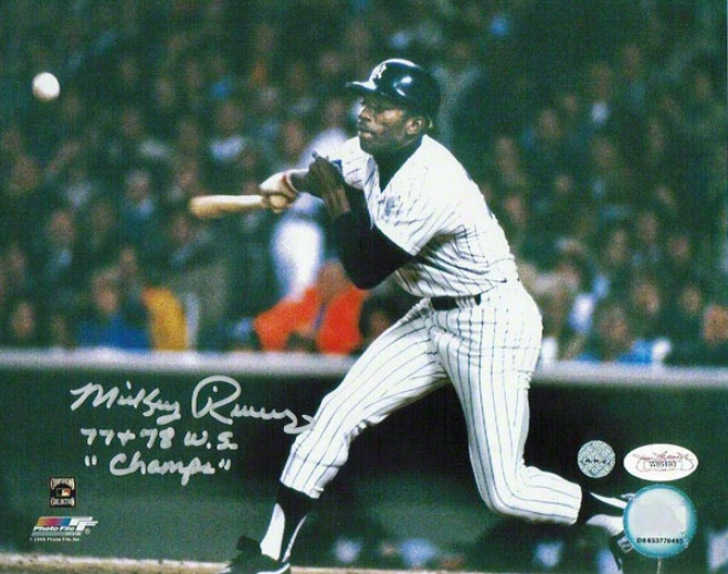 Mickey Rivers Autographed New York Yankees 8x10 Photo Inscribed &quot77+78 Ws Champs&quot