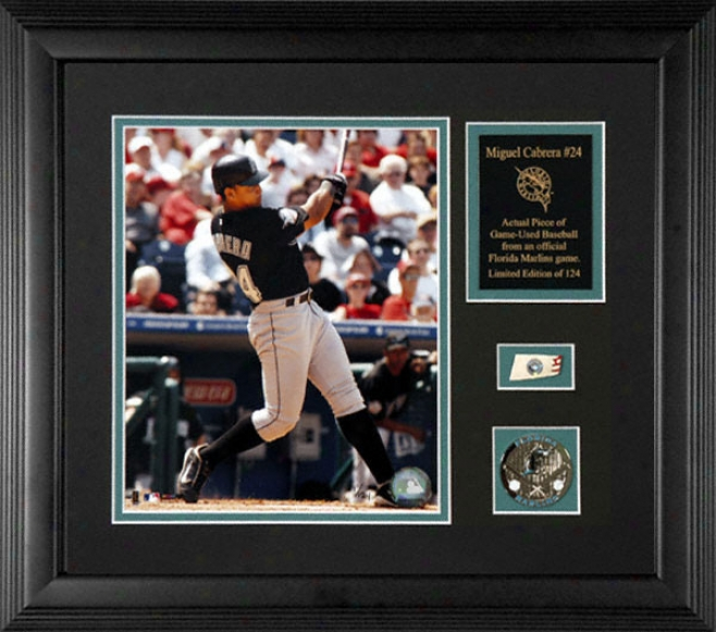 Miguel Cabrera Florida Marlins Framed 8x10 Photograph Witb Game Used 2005 Baseball