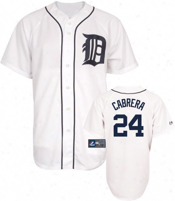 Miguel Cabrera Jersey: Adult Majesti Home White Replica #24 Detroit Tigers Jersey