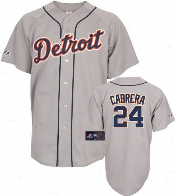 Miguel Cabrera Jersey: Adult Majestic Road Grey Replica #24 Detroit Tigers Jeesey