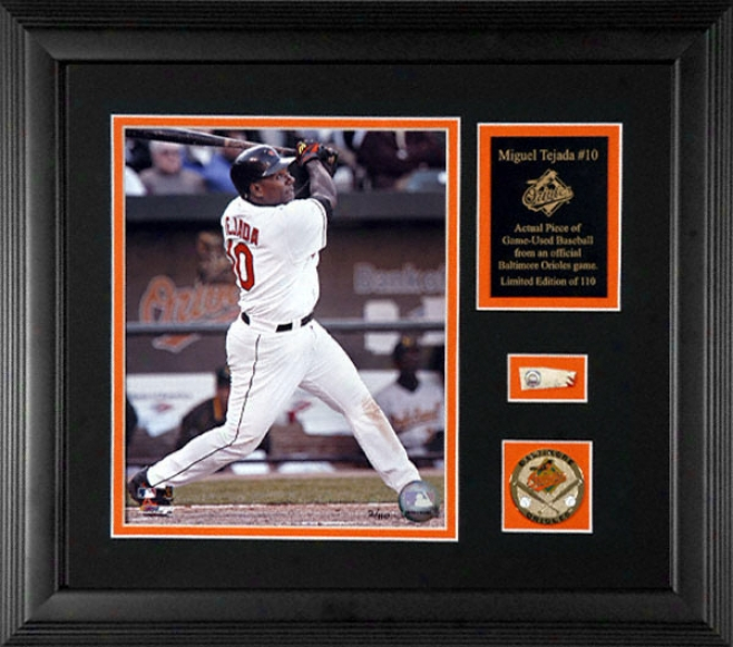 Miguel Tejada Baitimore Orioles Framed 8x10 Photograph With Game Used 2005 Baseball Piece & Medallion