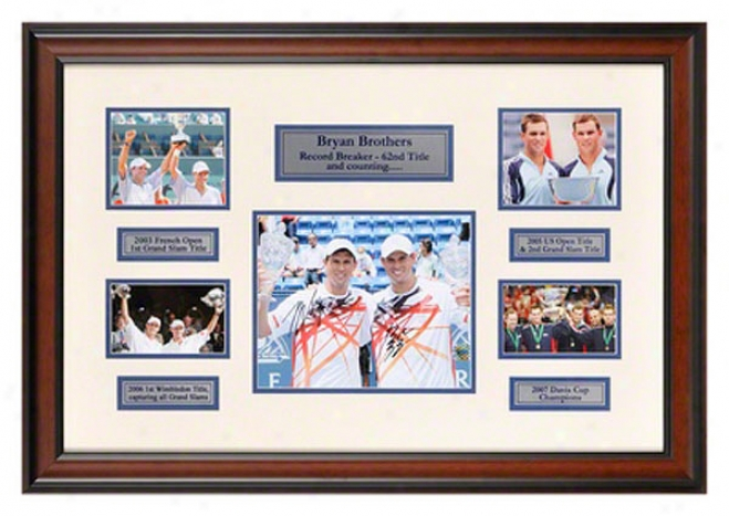 Mike And Bob Bryan Brothers Record Breaker Autographed Framed Photograph