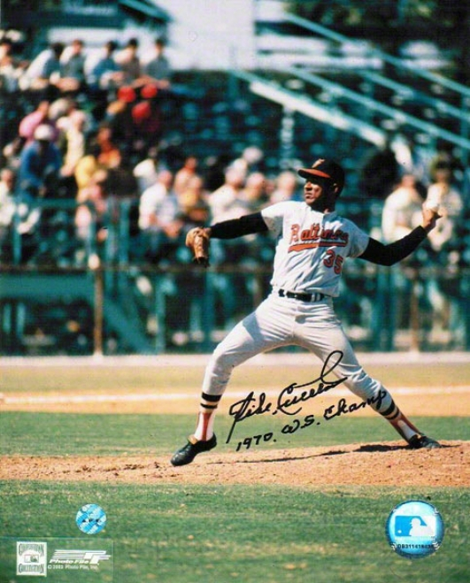 Mike Cuellar Autographed Baltimore Orioles 8x10 Photo Inscribed &quot1970 Ws Champ&quot