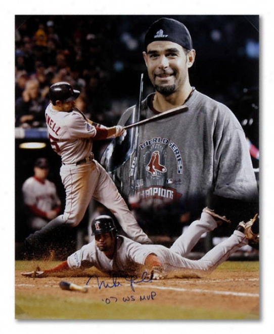 Mike Lowell Boston Red Sox - Mvp Collaage - Autographed 16x20 Photograph With 2007 Life Series Mvp Inscription