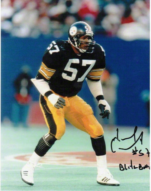 Mike Merriweather Pittsburgh Syeelers Autographed 8x10 Photograph With Blitzburgh Inscription