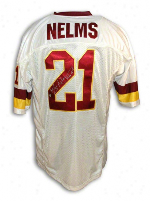 Mike Nelms Autographhed Washington Redskins White Throwback Jersey