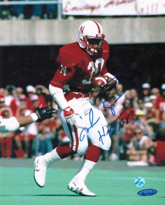 Mike Rozier Nebraska Cornhuskers Autographed 8x10 Photo Inscribed Heixman 1983