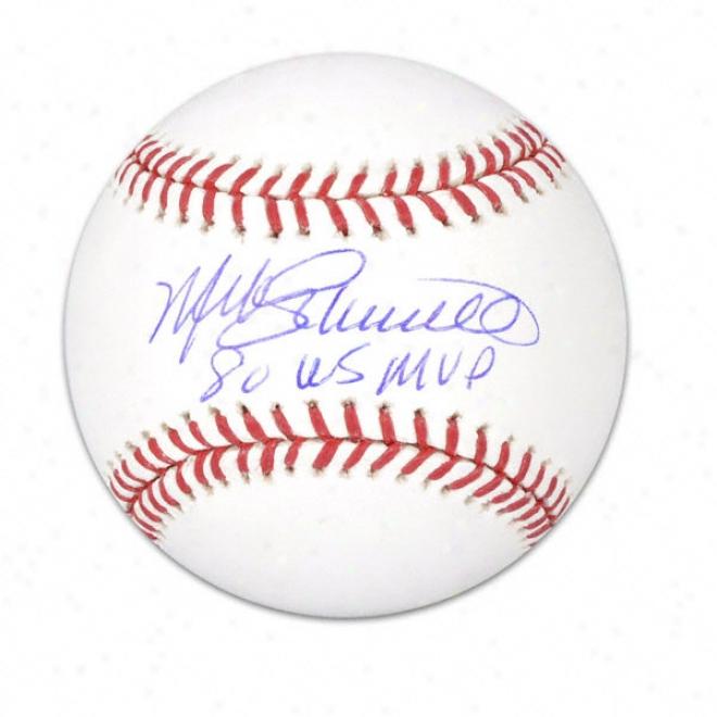 Mike Schmidt Autographed Baseball  Details: 1980 World Series Mvp Inscription