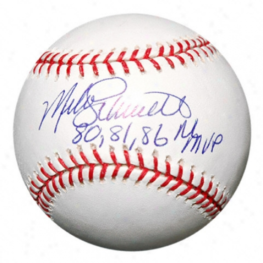 Mike Schmidt Autographed Baseball  Details: 80, 81, 86 Nl Mvp Inscription