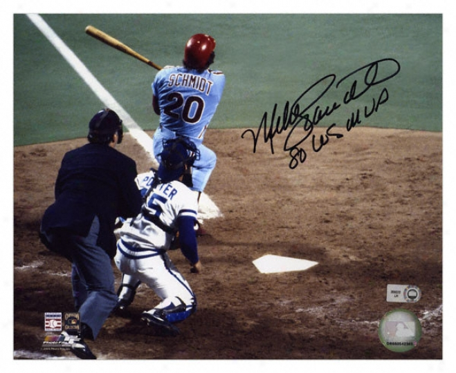 Mike Scmhidt Philadelphia Phillies Autographed 8x10 Photograph With 1980 World Series Mvp Inscription