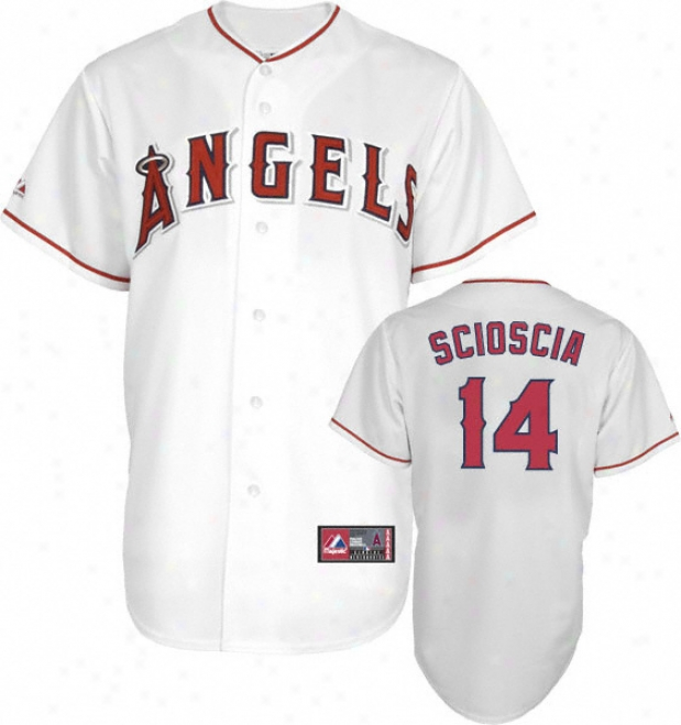 Mike Scioscia Jersey: Adult Majestic Home White Autograph copy #14 Los Angeles Antels Of Anaheim Jersey
