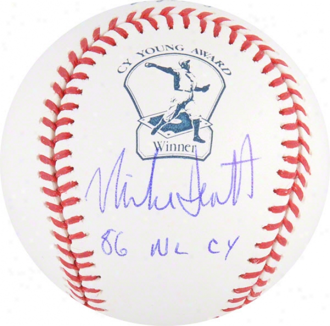 Mike Scott Autogrqphed Cy Young Logo Baseball  Particulars: 86 Nl Cy Inscription
