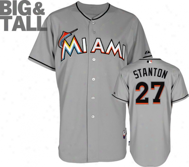 Mike Stanton Jersey: Big & Tall Miami Marlins #27 Road Grey Authentic Cool Baseã¢â�žâ¢ Jersey