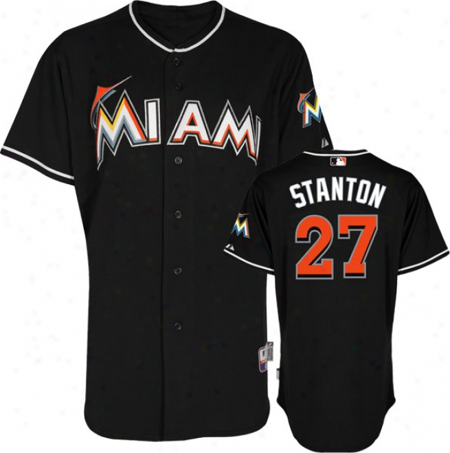 Mike Stanton Jersey: Miami Marlins #27 Alternate Black Authentic Cool Baseã¢â�žâ¢ Jersey