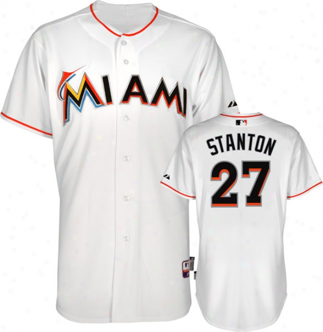 Mike Stanton Jersey: Miami Marlins #27 Home White Authentic Cool Baseã¢â�žâ¢ Jersey