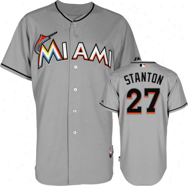 Mike Stanton Jersey: Miami Marlins #27 Road Grey Auth3ntic Cool Baseã¢â�žâ¢ Jerse6