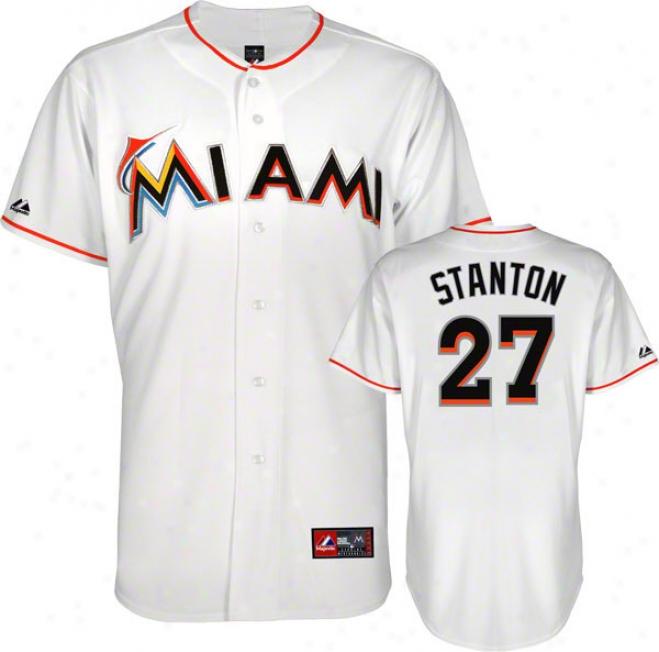 Mike Stanton Jersey: White Miami Marlins #27 Home Replica Jersey