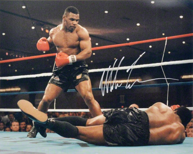 Mike Tyson 16x20 Autographed Photigraph  Details: Knockdown