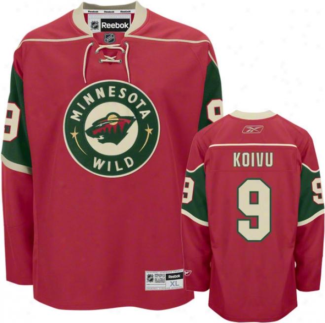 Mikko Koivvu Jersey: Reebok Red #9 Minnesota Wild Premier Jersey