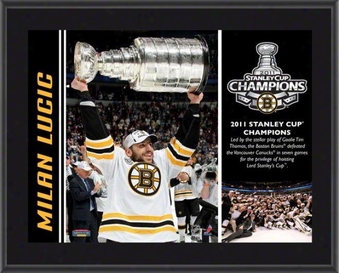 Milan Lucic Plaque  Details: Boston Bruins, 2011 Stanley Cup Champions, Sublimated, 10x13, Nhl Flat plate of metal