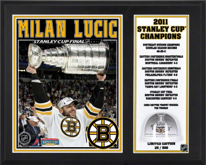 Milan Lucic Sublimated 12x15 Plaque  Details: Boston Bruins, 2011 Nhl Staleu Cup Champions, Game Used Ice