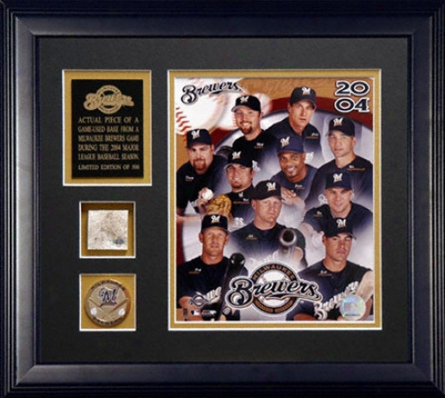 Milwaukee Brewers 2004 A Piece Of The Season Framed 8x10 Team Photograph With Game Used Found Piece And Medallion