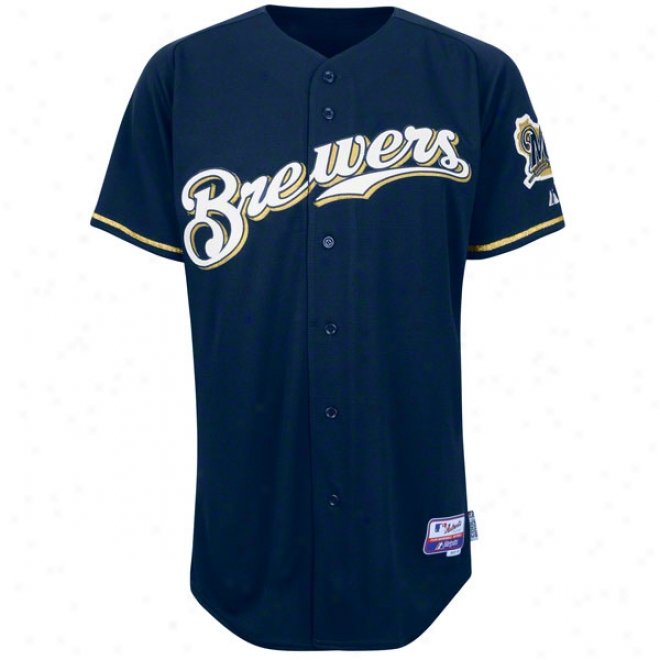 Milwaukee Brewers Alternate Navy Authentic Cool Baseã¢â�žâ¢ On-field Mlb Jersey