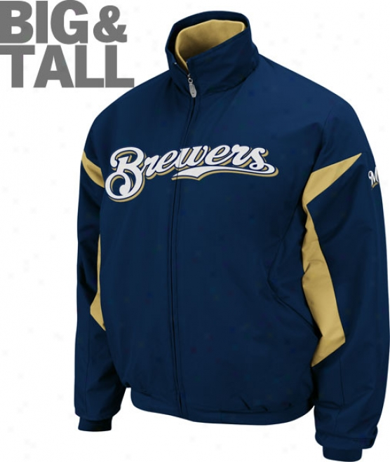 Milwaukee Brewers Big & Tall Authentic Collection Navy Therma Base Triple Peak Premier Jacket