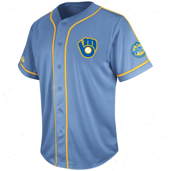 Milwaukee Brewers Coastal Blue Cooperstown Tradition Jersey