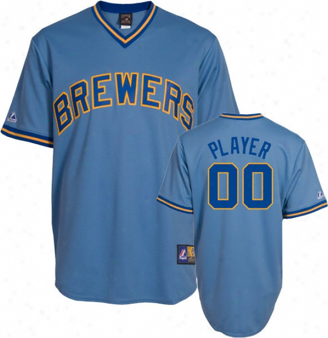 Milwaumee Brewers Cooperstown Columbia Blue -any Player- Replica Jersey