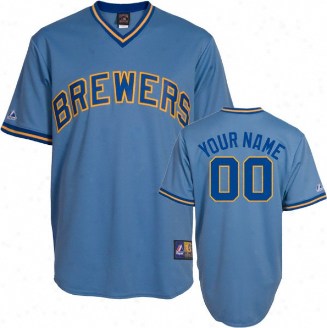 Milwaukee Brewers Cooperstown Columbia Blue -personalized With oYur Name- Replica Jersey