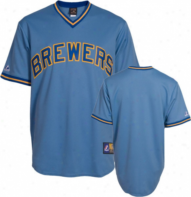 Milwaukee Brewers Cooperstown Columbia Blue Replica Jersey