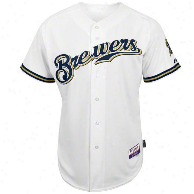 Milwaukee Brewers Home White Authentic Cool Baseã¢â�žâ¢ On-field Mlb Jersey
