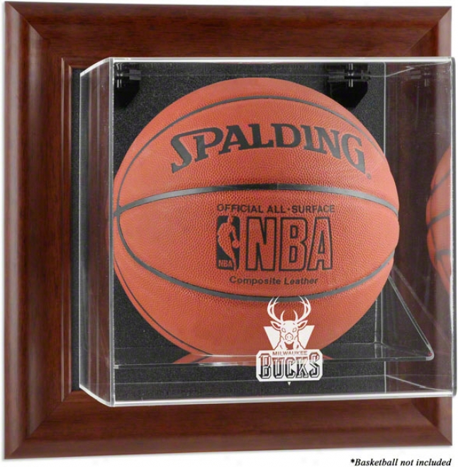 Milwaukee Bucks Framed Wall Mounted Logo Basketball Display Case