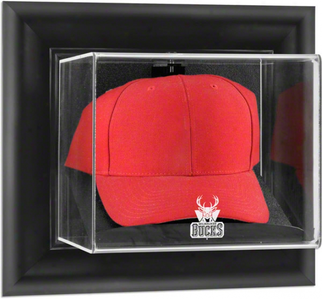 Milwaukee Bucks Framed Wall Mounted Logo Cover Display Case