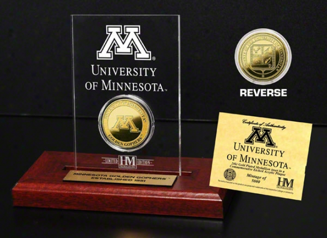 Minnesota Golden Gophers 24kt Gold Coin In Etched Acrylic