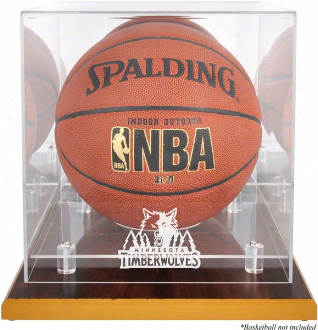 Minnesota Timberwolves Woodbase Logo Basketball Display Case And Mirror Back