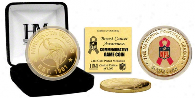 Minneosta Vikings Breast Cancer Awareness 24kt Gold Game Coin