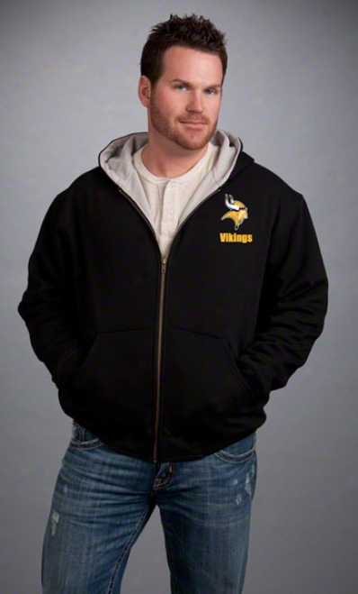 Minnesota Vikings Jacket: Black Reebok Hooded Craftsman Jacket