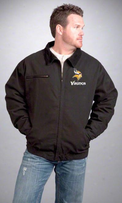 Minnesota Vikings Jackwt: Black Reebok Tradesman Jqcket