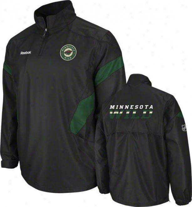 Minnesota Wild Black Center Ice 1/4 Zip Hot Jacket