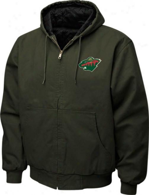 Minnesota Wild Jacket: Army Green Reebok Cumberland Jacket