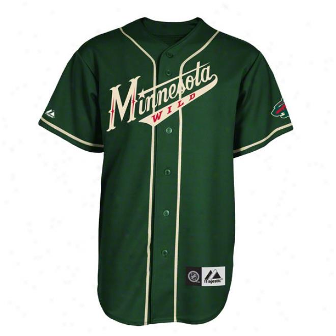 Minnesota Wild Jersey: Green Nhl Replica Baseball Jersey