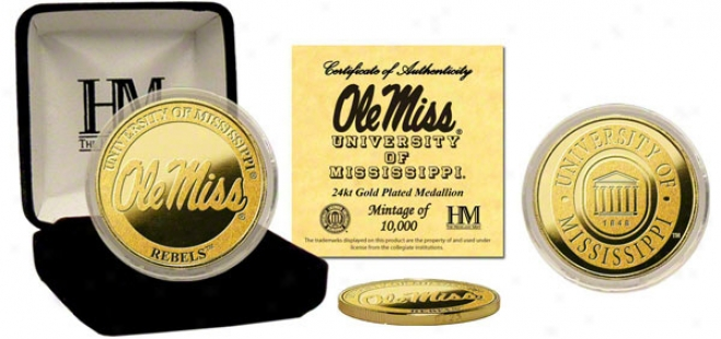Mississippi Rebels 24kt Gold Coin