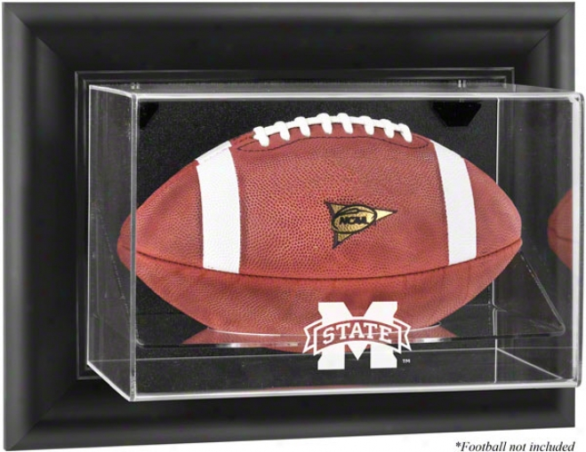 Mississippi State Bulldogs Framed Wall Mounted Logo Football Display Case