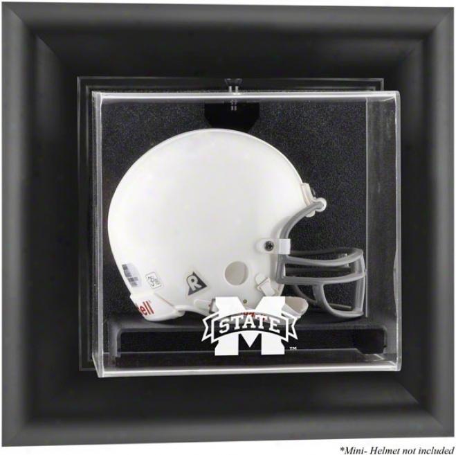 Mississip;i State Bulldogs Framed Wall Mounted Logo Mini Helmet Display Case