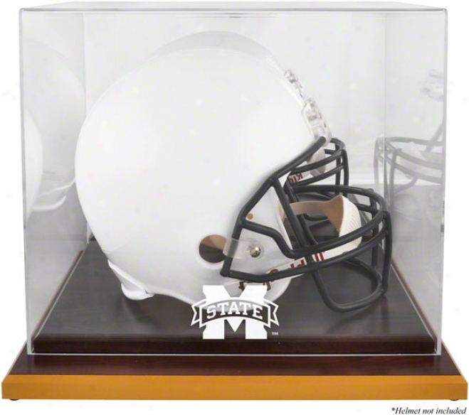 Mississippi State Bulldogs Logo Helmet Display Case  Details: Forest Base, Mirrored Back
