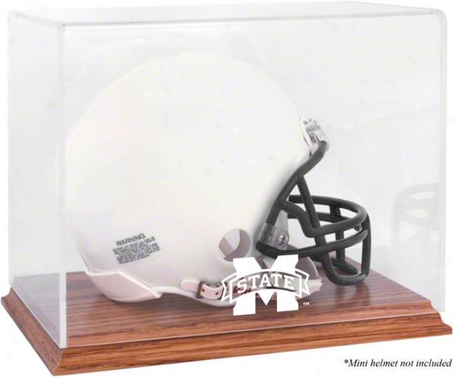 Mississippi State Bulldogs Team Logo Mini Helmet Display Case  Details: Oak Base, Mirror Back