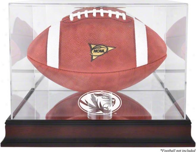 Missouri Tigers Logo Football Display Covering  Details: Mahogany, Mirror Back, Bottom