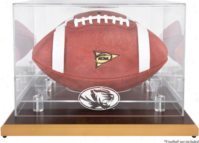 Missouri Tigers Logo Football Display Case  Details: Wood Shameful, Mirror Aid